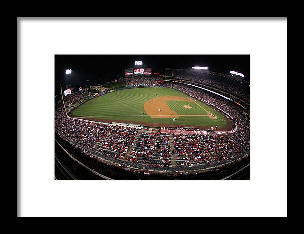 American League Baseball Framed Print featuring the photograph Oakland Athletics V. Los Angeles Angels by Paul Spinelli