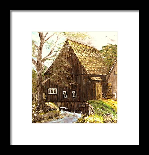 Mill Framed Print featuring the painting Old mill by Kenneth LePoidevin