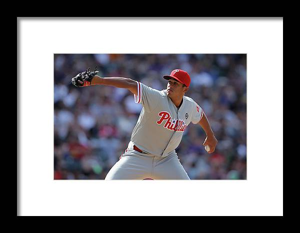 Relief Pitcher Framed Print featuring the photograph Philadelphia Phillies V Colorado Rockies by Doug Pensinger