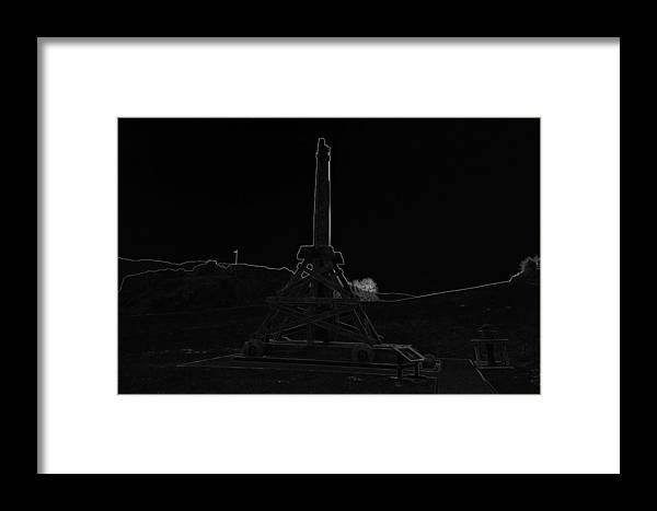 Castle Framed Print featuring the digital art Replica Of Wooden Trebuchet And The Ruins Of The Urquhart Castle by Ashish Agarwal