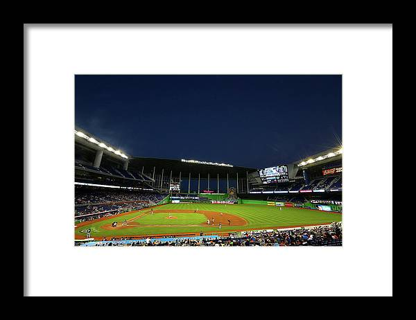 American League Baseball Framed Print featuring the photograph San Diego Padres V Miami Marlins by Mike Ehrmann