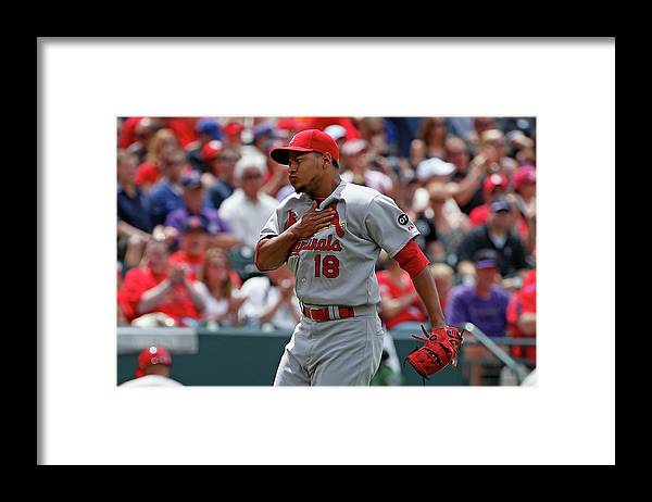 St. Louis Cardinals Framed Print featuring the photograph St Louis Cardinals V Colorado Rockies by Doug Pensinger