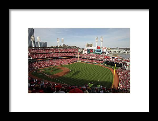 Great American Ball Park Framed Print featuring the photograph St. Louis Cardinals Vs. Cincinnati Reds by John Grieshop