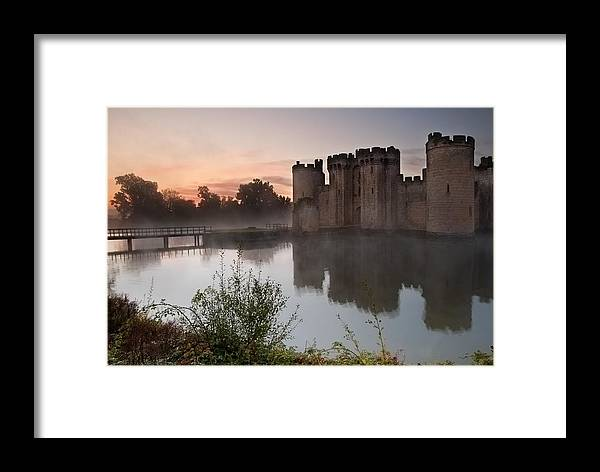 Castle Framed Print featuring the photograph Stunning Moat And Castle In Autumn Fall Sunrise With Mist Over M by Matthew Gibson