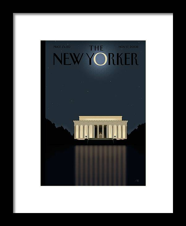 Lincoln Framed Print featuring the painting New Yorker November 17th, 2008 by Bob Staake
