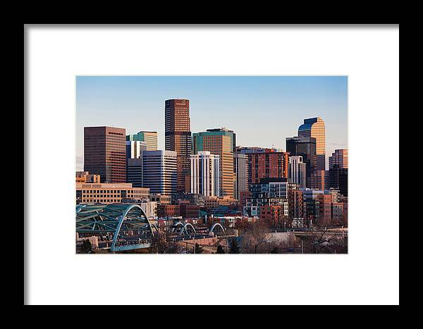 America Framed Print featuring the photograph Usa, Colorado, Denver, City View by Walter Bibikow