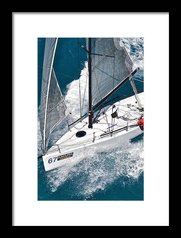 Aerial Framed Print featuring the photograph Miami Sail Week by Steven Lapkin