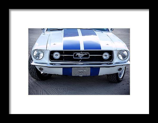 1967 Mustang Fastback Photo Photographs Framed Print featuring the photograph 67 Mustang Grill by Brooke Roby