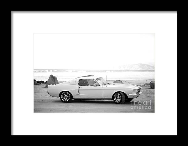 1967 Mustang Fastback Photo Photographs Framed Print featuring the photograph 67 Mustang In Black by Brooke Roby
