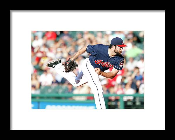 American League Baseball Framed Print featuring the photograph Boston Red Sox V Cleveland Indians by David Maxwell