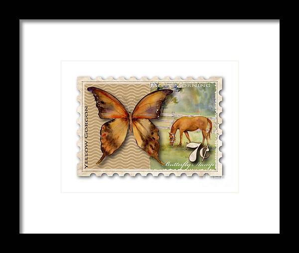 Yellow Framed Print Featuring The Painting 7 Cent Butterfly Stamp By Amy Kirkpatrick