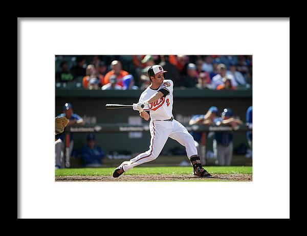 American League Baseball Framed Print featuring the photograph Kansas City Royals V Baltimore Orioles by Rob Tringali