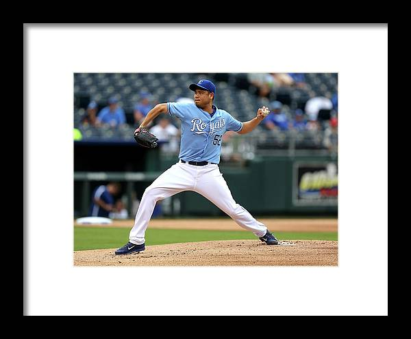 American League Baseball Framed Print featuring the photograph Los Angeles Angels Of Anaheim V Kansas 7 by Ed Zurga