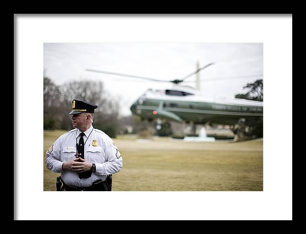 White House Framed Print featuring the photograph Marine One by JP Tripp