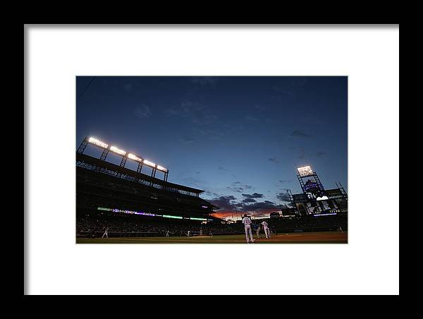 National League Baseball Framed Print featuring the photograph New York Mets V Colorado Rockies by Doug Pensinger