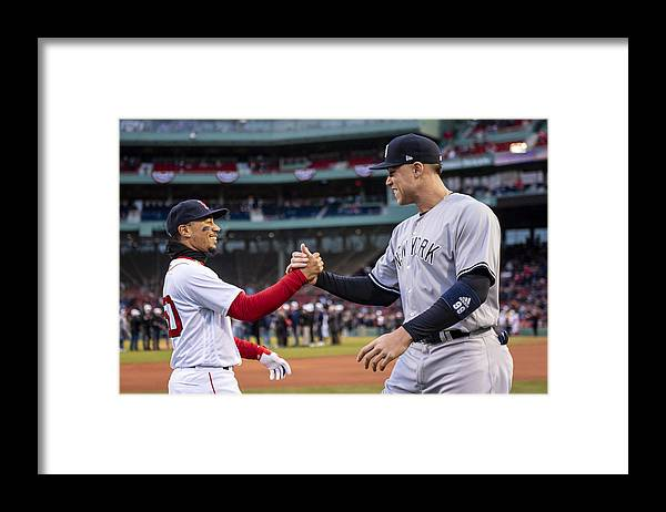 Three Quarter Length Framed Print featuring the photograph New York Yankees v Boston Red Sox by Billie Weiss/Boston Red Sox