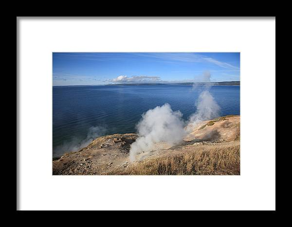America Framed Print featuring the photograph Yellowstone Lake And Geysers by Frank Romeo