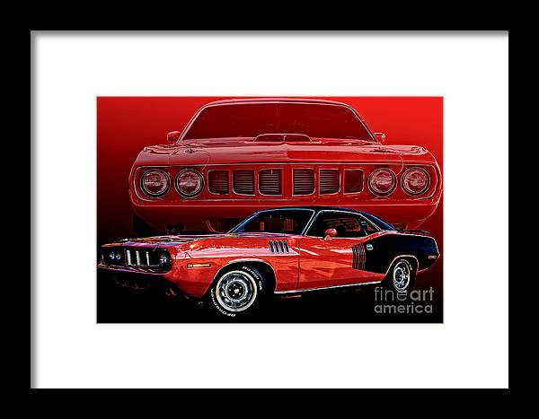 Auto Framed Print featuring the photograph 71 Cuda by Jim Hatch