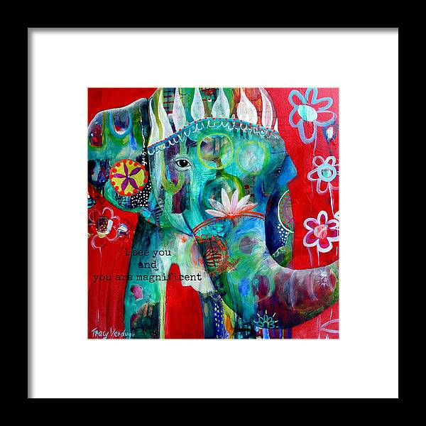 Elephant Framed Print featuring the photograph I see you by Tracy Verdugo