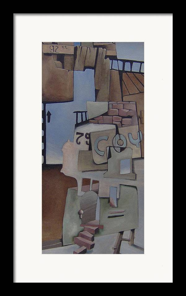 Surreal Framed Print featuring the painting 79w92nd St by Michael Irrizary-Pagan