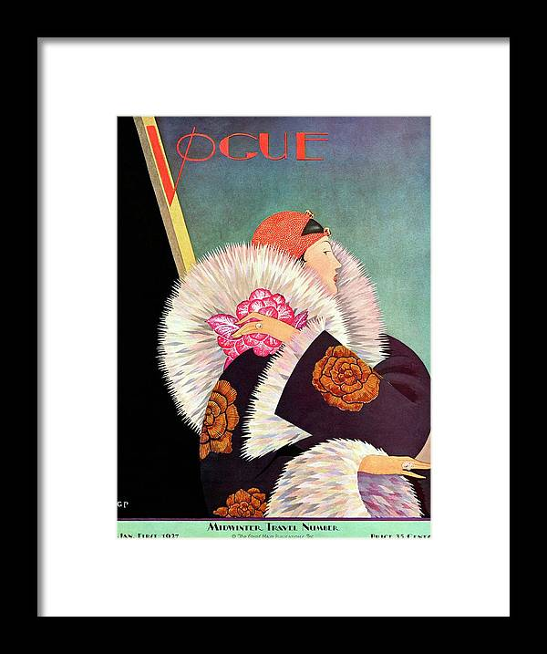 Illustration Framed Print featuring the photograph A Vintage Vogue Magazine Cover Of A Woman by George Wolfe Plank