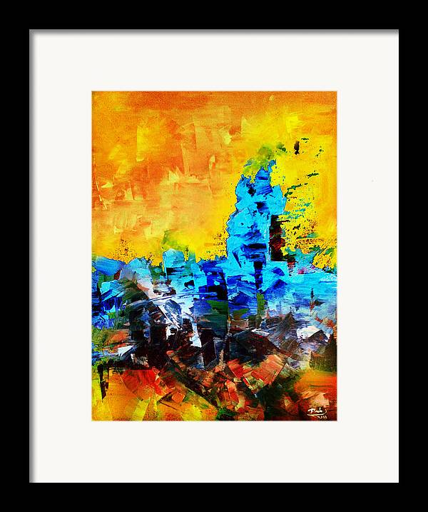 Framed Print featuring the painting Abstract by Deeb Marabeh