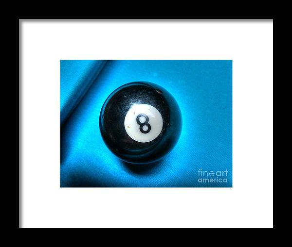 8 Ball Pool Table Pool Hall Games Gambling Money Blue Glow Style Framed Print featuring the photograph 8 Ball by Robert Loe