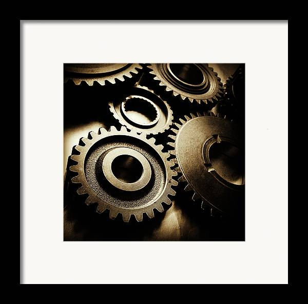 Gearing Framed Print featuring the photograph Cogs by Les Cunliffe