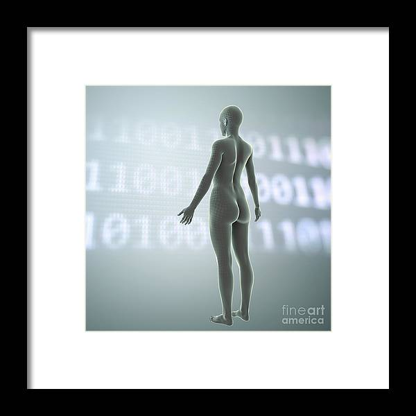 3d Visualisation Framed Print featuring the photograph Digital Being by Science Picture Co