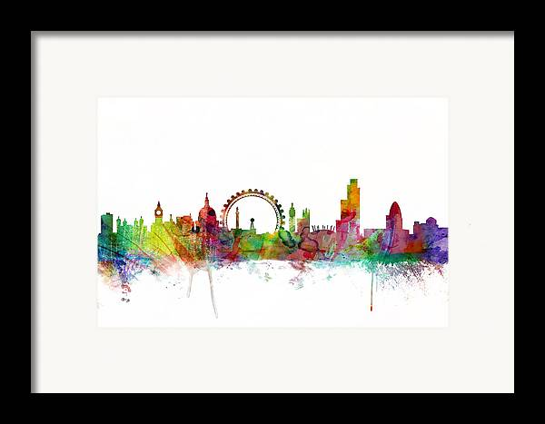 London Framed Print featuring the digital art London England Skyline by Michael Tompsett