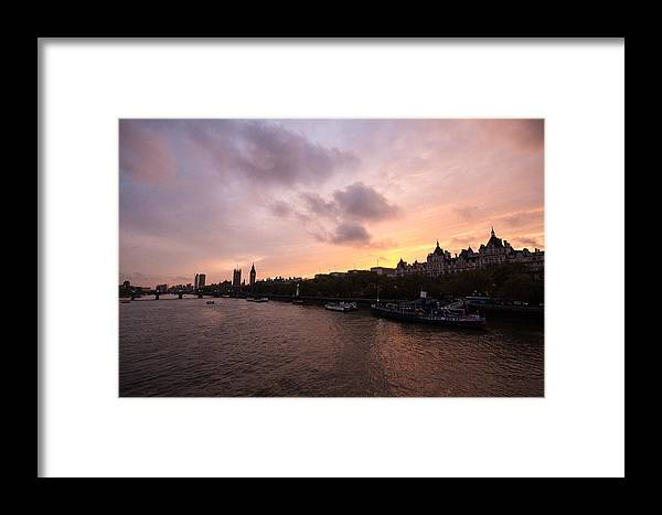 Westminster Framed Print featuring the photograph London Skyline Sunset by Dawn OConnor