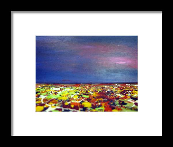 Art Framed Print featuring the painting Modern Abstract Painting Original Canvas Art Sunset By Zee Clark by Zee Clark