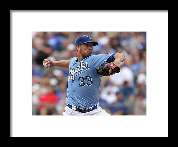 American League Baseball Framed Print featuring the photograph New York Yankees V Kansas City Royals 8 by Ed Zurga