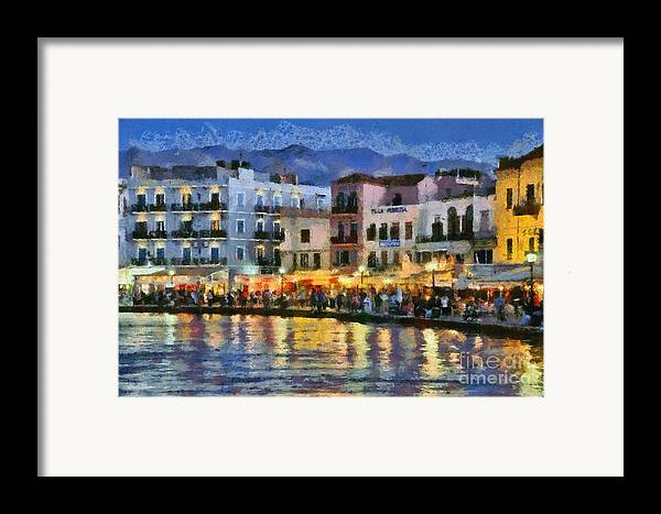 Chania; Hania; Crete; Kriti; Town; Old; City; Port; Harbor; Venetian; Greece; Hellas; Greek; Hellenic; Islands; Dusk; Twilight; Night; Lights; Sea; Island; People; Tourists; Walk; Walking; Color; Colour; Colorful; Colourful; Hotels; Taverns; Restaurants; Holidays; Vacation; Travel; Trip; Voyage; Journey; Tourism; Touristic; Summer; Paint; Painting; Paintings Framed Print featuring the painting Painting Of The Old Port Of Chania by George Atsametakis