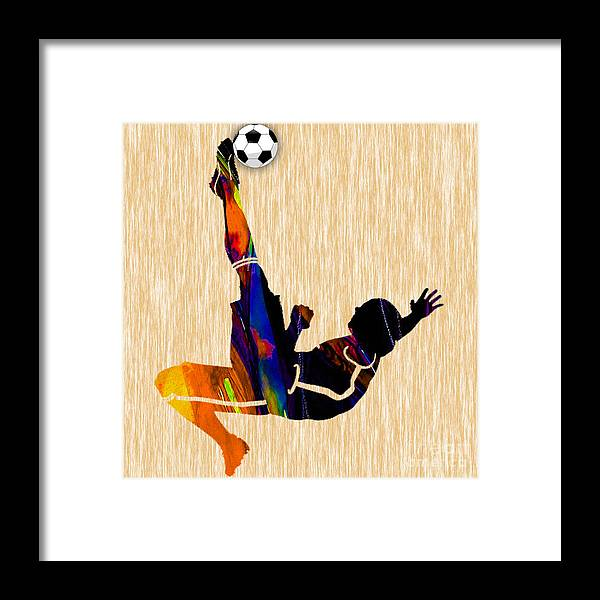 Soccer Framed Print featuring the mixed media Soccer Player by Marvin Blaine