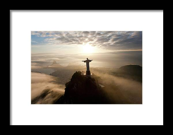 Art Deco Framed Print featuring the photograph The Art Deco Statue Of Jesus, Known by Peter Adams