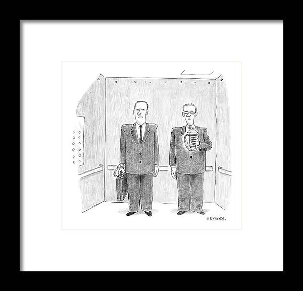 Security Problems Crime White Collar Business   (two Business Men In An Elevator. One Handcuffed To His Briefcase Framed Print featuring the drawing New Yorker February 7th, 2005 by Pat Byrnes