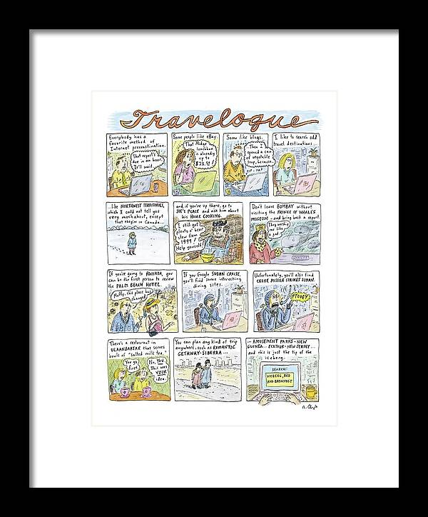 Leisure Travel Vacations Word Play  (odd Travel Destinations.) 120828 Rch Roz Chast Framed Print featuring the drawing New Yorker April 18th, 2005 by Roz Chast