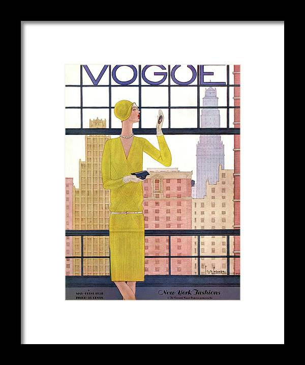 Cityscape Framed Print featuring the photograph A Vintage Vogue Magazine Cover Of A Woman by Georges Lepape