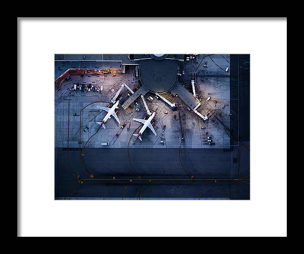 Teamwork Framed Print featuring the photograph Airliners At Gates And Control Tower by Michael H
