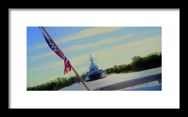 Framed Print featuring the digital art Battleship North Carolina by Chick Phillips
