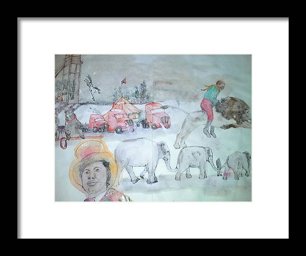 Circuses. Big Tent. Ringmaster. Performers. Performances. Animals Framed Print featuring the painting Circus Circus Circus Album by Debbi Saccomanno Chan