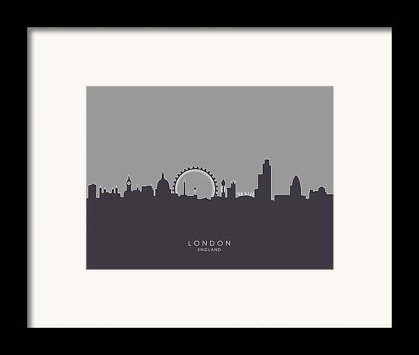 London Framed Print featuring the digital art London England Skyline by Michael Tompsett