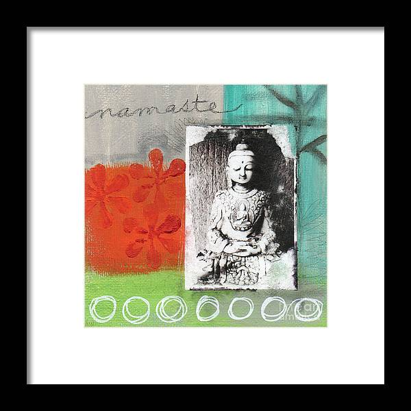 Buddha Framed Print featuring the painting Namaste by Linda Woods