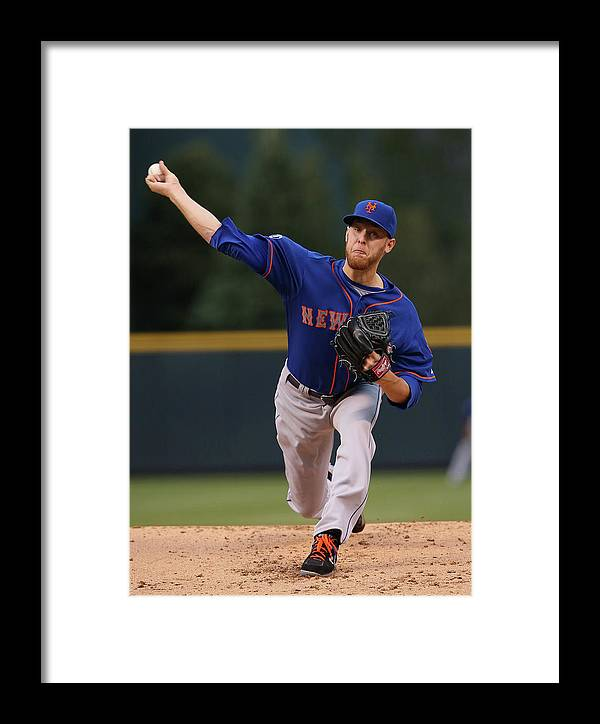 Baseball Pitcher Framed Print featuring the photograph New York Mets V Colorado Rockies by Doug Pensinger