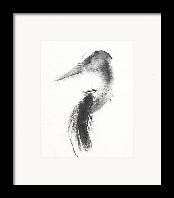 Heron Framed Print featuring the drawing Rcnpaintings.com by Chris N Rohrbach