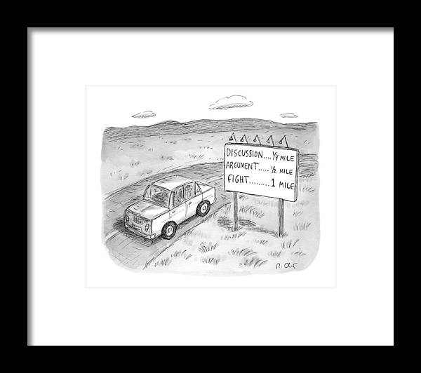 Argument Framed Print featuring the drawing New Yorker August 1st, 2016 by Roz Chast