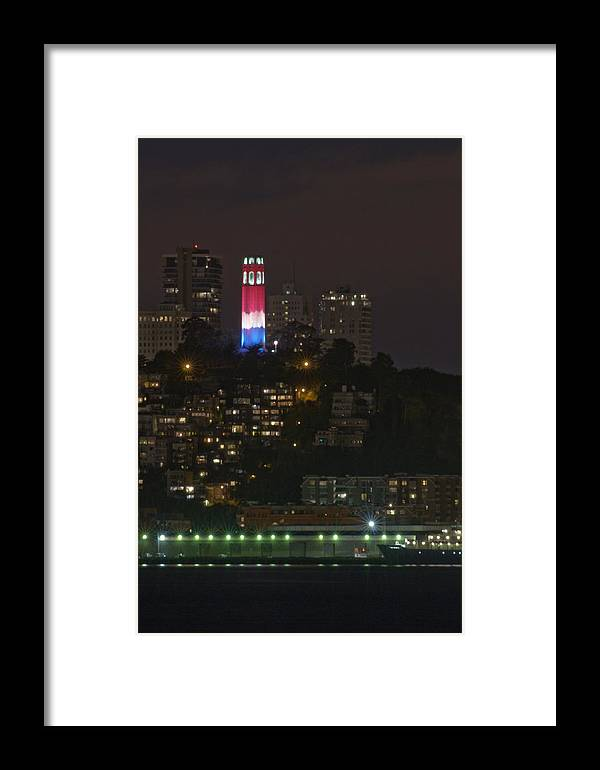 911 Framed Print featuring the photograph 911 Commemorative Lighting On Coit Tower by Scott Lenhart