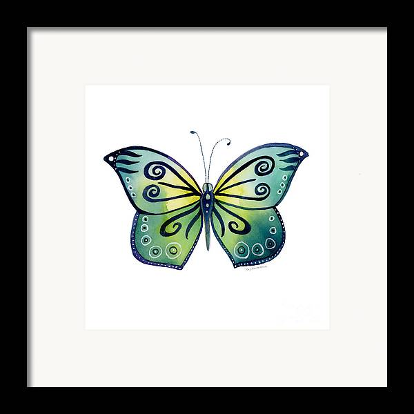 Capanea Butterfly Framed Print featuring the painting 92 Teal Button Cap Butterfly by Amy Kirkpatrick