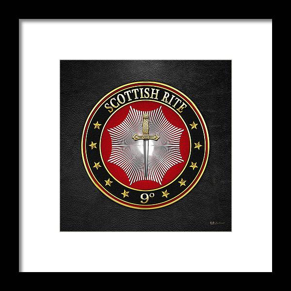 'scottish Rite' Collection By Serge Averbukh Framed Print featuring the digital art 9th Degree - Elu Of The Nine Jewel On Black Leather by Serge Averbukh